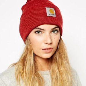 Red Carhartt Knitted Cuff Beanie